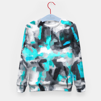 Miniaturka splash painting texture abstract background in blue and black Kid's sweater, Live Heroes
