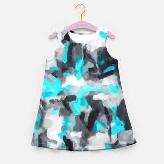 Miniaturka splash painting texture abstract background in blue and black Girl's summer dress, Live Heroes