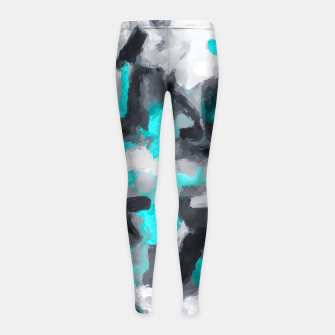 Miniaturka splash painting texture abstract background in blue and black Girl's leggings, Live Heroes