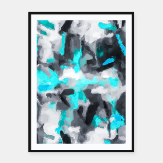 Miniaturka splash painting texture abstract background in blue and black Framed poster, Live Heroes