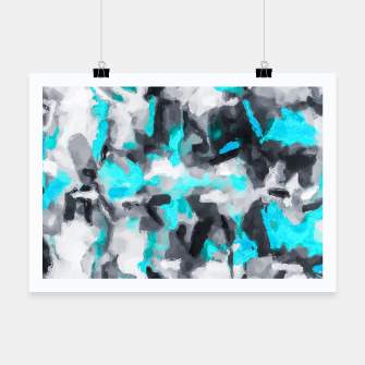 Miniaturka splash painting texture abstract background in blue and black Poster, Live Heroes