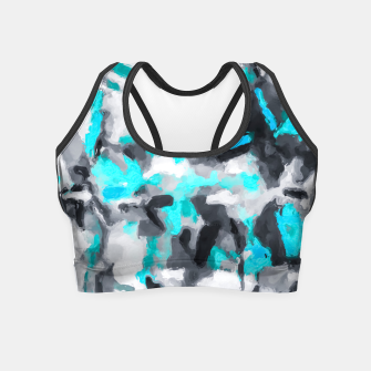 Miniaturka splash painting texture abstract background in blue and black Crop Top, Live Heroes