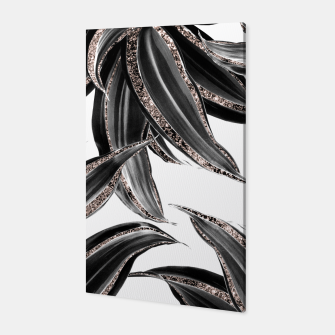 Miniaturka Tropical Leaves with Rose Gold Glitter #1 #shiny #tropical #decor #art  Canvas, Live Heroes