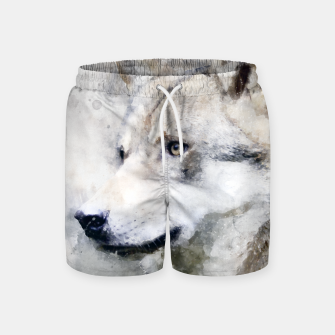 Thumbnail image of Watercolour wild grey wolf Swim Shorts, Live Heroes