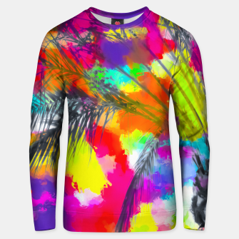 Imagen en miniatura de palm tree with splash painting abstract background in red pink yellow blue Unisex sweater, Live Heroes