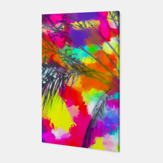 Miniaturka palm tree with splash painting abstract background in red pink yellow blue Canvas, Live Heroes