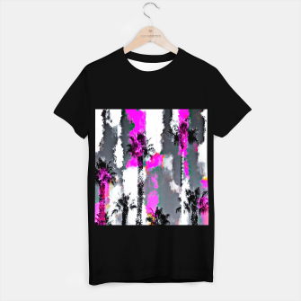 Miniaturka palm tree with splash painting texture abstract background in pink and black T-shirt regular, Live Heroes