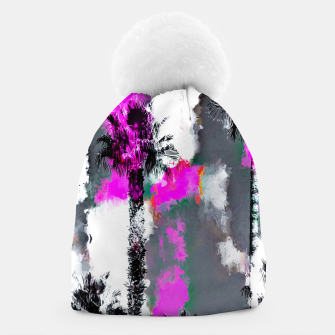 Miniaturka palm tree with splash painting texture abstract background in pink and black Beanie, Live Heroes