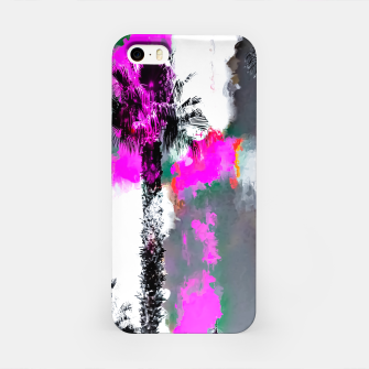 Miniaturka palm tree with splash painting texture abstract background in pink and black iPhone Case, Live Heroes