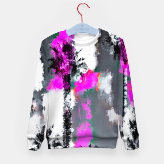 Miniaturka palm tree with splash painting texture abstract background in pink and black Kid's sweater, Live Heroes