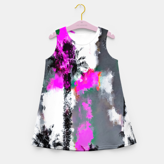 Miniaturka palm tree with splash painting texture abstract background in pink and black Girl's summer dress, Live Heroes