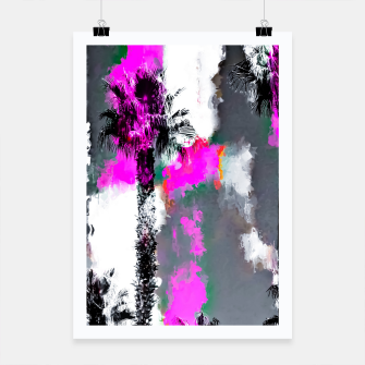 Miniaturka palm tree with splash painting texture abstract background in pink and black Poster, Live Heroes