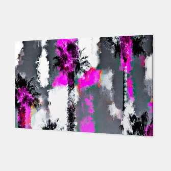 Miniaturka palm tree with splash painting texture abstract background in pink and black Canvas, Live Heroes