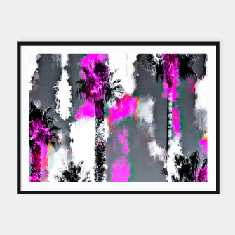 Miniaturka palm tree with splash painting texture abstract background in pink and black Framed poster, Live Heroes
