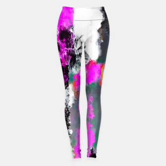 Miniaturka palm tree with splash painting texture abstract background in pink and black Leggings, Live Heroes