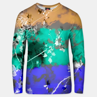Thumbnail image of tree branch with leaf and painting abstract background in brown blue green black Unisex sweater, Live Heroes