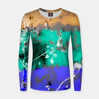 Thumbnail image of tree branch with leaf and painting abstract background in brown blue green black Women sweater, Live Heroes