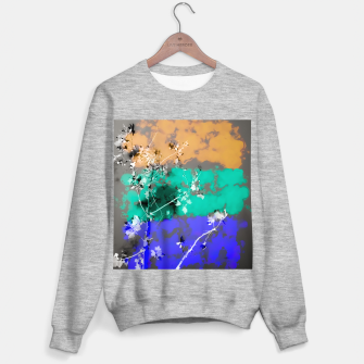 Thumbnail image of tree branch with leaf and painting abstract background in brown blue green black Sweater regular, Live Heroes