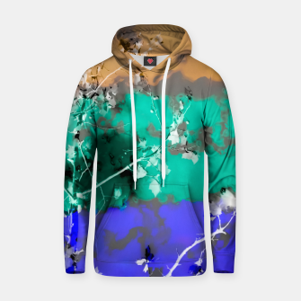 Thumbnail image of tree branch with leaf and painting abstract background in brown blue green black Hoodie, Live Heroes