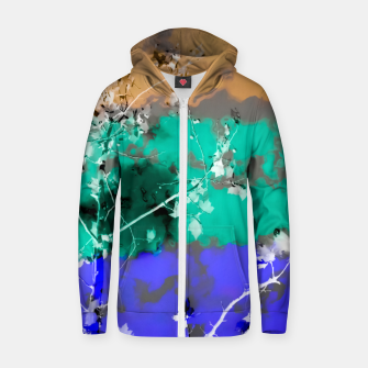 Thumbnail image of tree branch with leaf and painting abstract background in brown blue green black Zip up hoodie, Live Heroes
