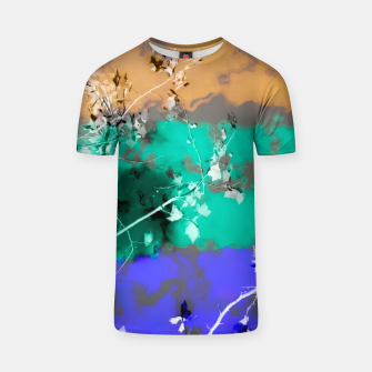 Thumbnail image of tree branch with leaf and painting abstract background in brown blue green black T-shirt, Live Heroes
