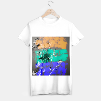 Thumbnail image of tree branch with leaf and painting abstract background in brown blue green black T-shirt regular, Live Heroes