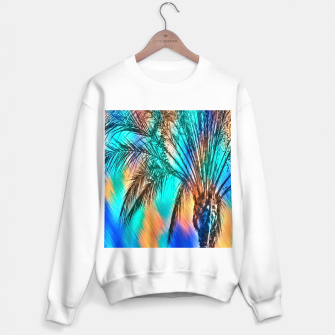 Miniaturka isolate palm tree with painting abstract background in green blue orange Sweater regular, Live Heroes