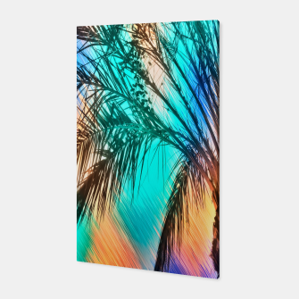 Miniaturka isolate palm tree with painting abstract background in green blue orange Canvas, Live Heroes