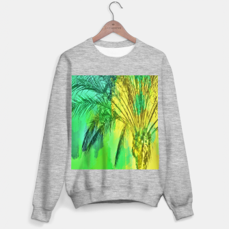 Miniaturka isolate palm tree with painting abstract background in green yellow Sweater regular, Live Heroes