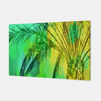 Miniaturka isolate palm tree with painting abstract background in green yellow Canvas, Live Heroes