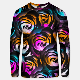 Miniaturka black rose texture abstract with painting abstract in orange pink blue Unisex sweater, Live Heroes