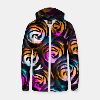 Miniaturka black rose texture abstract with painting abstract in orange pink blue Zip up hoodie, Live Heroes