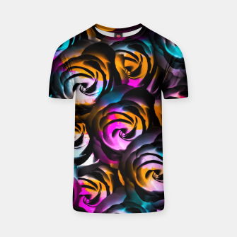 Miniaturka black rose texture abstract with painting abstract in orange pink blue T-shirt, Live Heroes
