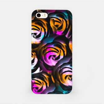 Miniaturka black rose texture abstract with painting abstract in orange pink blue iPhone Case, Live Heroes