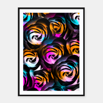 Miniaturka black rose texture abstract with painting abstract in orange pink blue Framed poster, Live Heroes