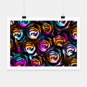 Miniaturka black rose texture abstract with painting abstract in orange pink blue Poster, Live Heroes