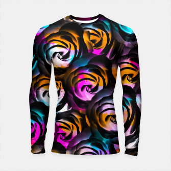 Miniaturka black rose texture abstract with painting abstract in orange pink blue Longsleeve rashguard , Live Heroes