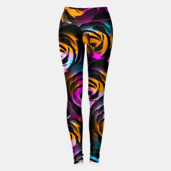 Miniaturka black rose texture abstract with painting abstract in orange pink blue Leggings, Live Heroes
