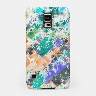 Miniaturka psychedelic geometric square pixel pattern abstract in green blue purple orange Samsung Case, Live Heroes