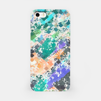 Miniaturka psychedelic geometric square pixel pattern abstract in green blue purple orange iPhone Case, Live Heroes