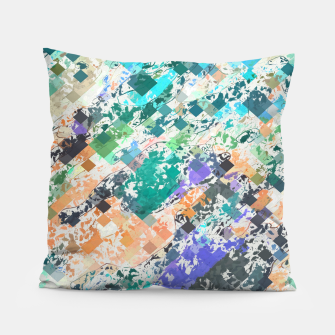 Miniaturka psychedelic geometric square pixel pattern abstract in green blue purple orange Pillow, Live Heroes