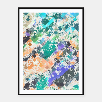 Miniaturka psychedelic geometric square pixel pattern abstract in green blue purple orange Framed poster, Live Heroes