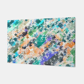 Miniaturka psychedelic geometric square pixel pattern abstract in green blue purple orange Canvas, Live Heroes