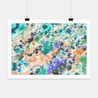 Miniaturka psychedelic geometric square pixel pattern abstract in green blue purple orange Poster, Live Heroes