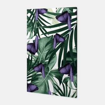 Thumbnail image of Tropical Butterfly Jungle Leaves Pattern #4 #tropical #decor #art Canvas, Live Heroes
