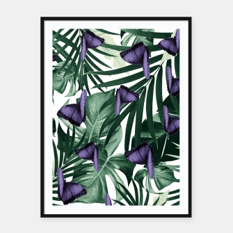 Thumbnail image of Tropical Butterfly Jungle Leaves Pattern #4 #tropical #decor #art Plakat mit rahmen, Live Heroes