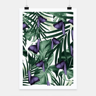 Thumbnail image of Tropical Butterfly Jungle Leaves Pattern #4 #tropical #decor #art Plakat, Live Heroes