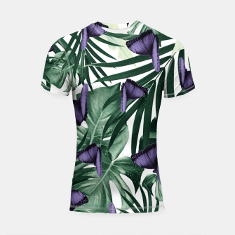 Thumbnail image of Tropical Butterfly Jungle Leaves Pattern #4 #tropical #decor #art Shortsleeve rashguard, Live Heroes