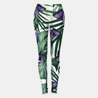 Thumbnail image of Tropical Butterfly Jungle Leaves Pattern #4 #tropical #decor #art Leggings, Live Heroes