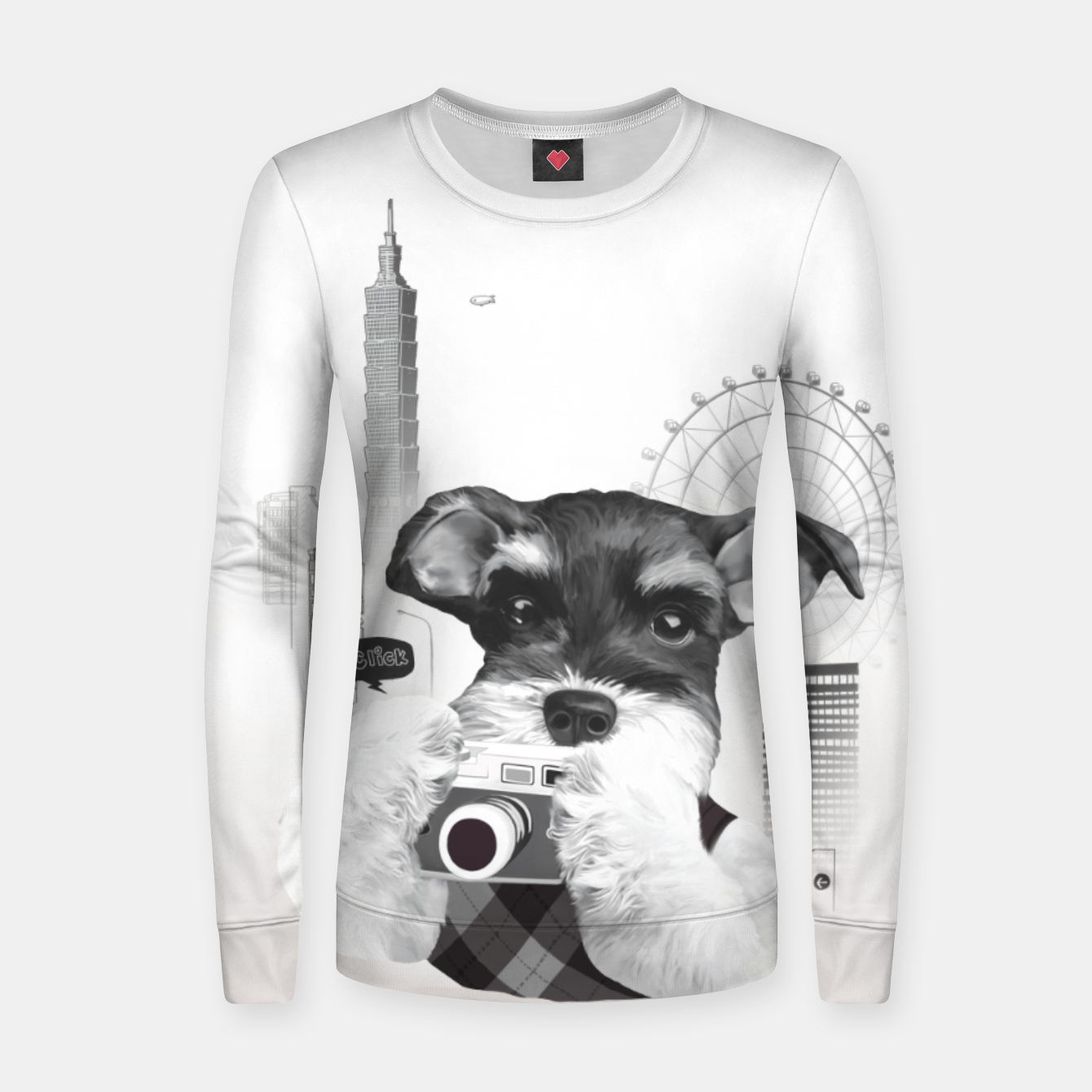 Image of Schnauzer with Camera  Women sweater - Live Heroes